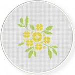 Yellow Flower Clusters Cross Stitch Illustration