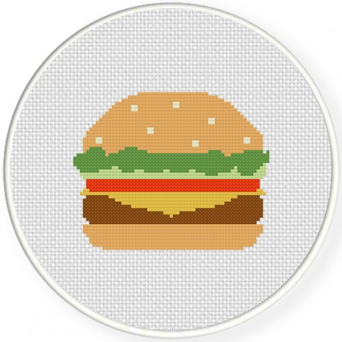 Yummy Burger Cross Stitch Illustration