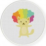 Afro Cat Cross Stitch Illustration