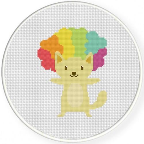 Afro Cat Cross Stitch Illustration