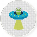 Alien UFO Cross Stitch Illustration