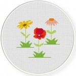 Country Flowers Cross Stitch Illustration
