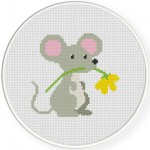 Cute Mouse with Flower Cross Stitch Illustration
