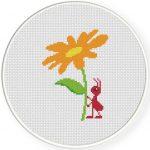 Flower Ant Cross Stitch Illustration