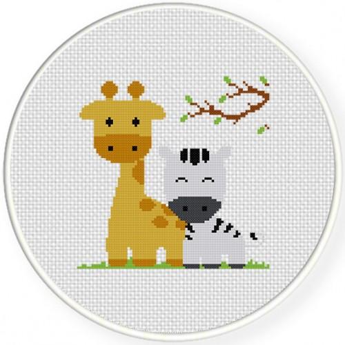 Giraffe And Zebra Cross Stitch Illustration