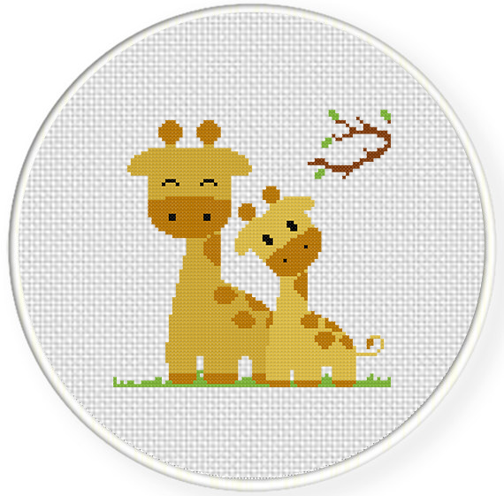 Giraffe Mom And Baby Cross Stitch Pattern Daily Cross Stitch