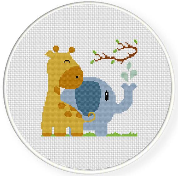 Giraffe With Elephant Cross Stitch Pattern Daily Cross