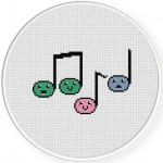 Happy Musical Notes Cross Stitch Illustration