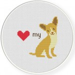 Love My Chihuahua Cross Stitch Illustration