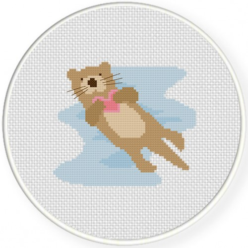 Otter Love Cross Stitch Illustration