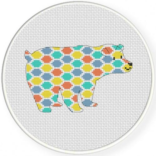 Pattern Bear Cross Stitch Illustration