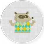 Raccoon in Sweater Cross Stitch Illustration
