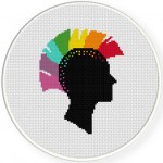 Rainbow Head Punk Cross Stitch Illustration