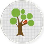 Round Tree Cross Stitch Illustration