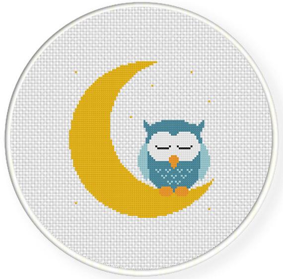 Sweet Dreams Owl Cross Stitch Pattern | Daily Cross Stitch