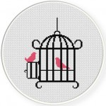 Bird Cage Cross Stitch Illustration