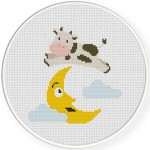 Cow Jumped over the Moon Cross Stitch Illustration