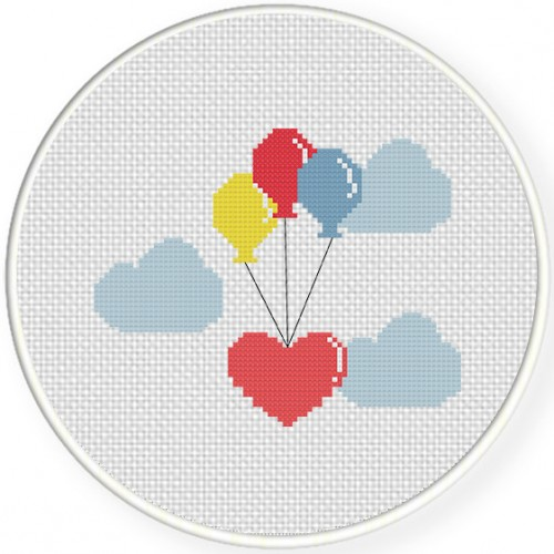 Flying Hearts Cross Stitch Illustration