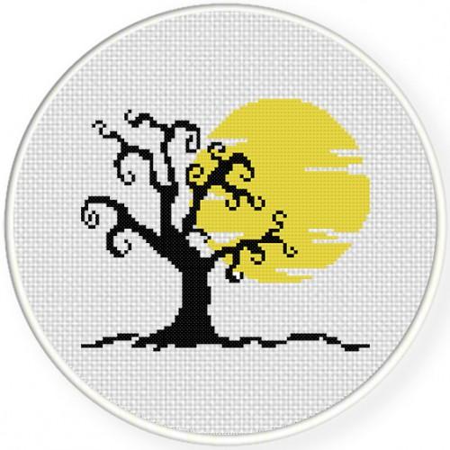 Halloween Tree Cross Stitch Illustration