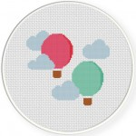 Hot Air Balloons Cross Stitch Illustration