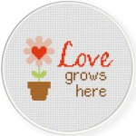 Love Grows Here Cross Stitch Illustration