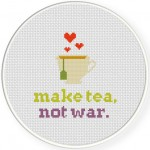 Make Tea Not War Cross Stitch Illustration