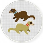 Mr. and Mr Ferret Cross Stitch Illustration