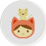 My Pet Kitty Cross Stitch Illustration