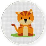 Orange Cat Cross Stitch Illustration
