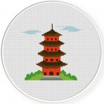 Pagoda Cross Stitch Illustration