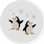 Penguins in Snow Cross Stitch Illustration