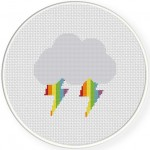 Rainbow Thunder Cross Stitch Illustration
