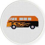 Retro Van Flames Cross Stitch Illustration