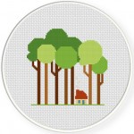 Tall Trees Cross Stitch Illustration