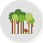 Tall Trees Cross Stitch Illustration