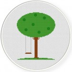 Tree Swing Cross Stitch Illustration