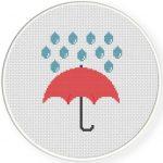 Umbrella Cross Stitch Illustration