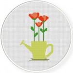 Water Sprinkler Blooms Cross Stitch Illustration