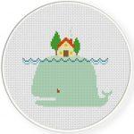 Whale Island Cross Stitch Illustration