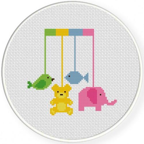 Baby Mobile Cross Stitch Illustration