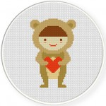 Bear Heart Cross Stitch Illustration