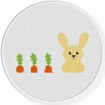 Bunny And Carrots Cross Stitch Illustration