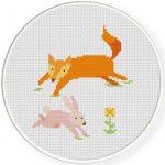 Fox chasing Bunny Cross Stitch Illustration