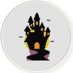 Haunted Castle Cross Stitch Illustration