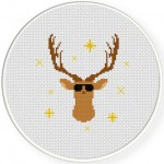 Hippie Buck Cross Stitch Illustration