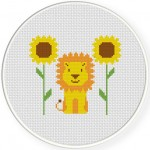 Lion and Sunflowers Cross Stitch Illustration