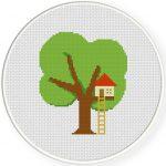 Little Tree House Cross Stitch Illustration