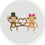 Love Monkey Cross Stitch Illustration