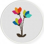 Modern Flowers Cross Stitch Illustration