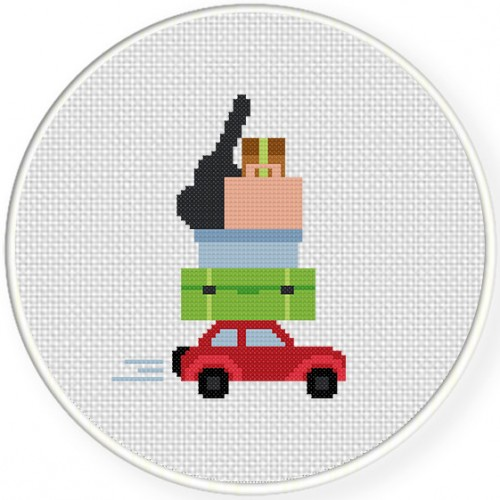 Moving Out Cross Stitch Illustration